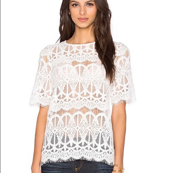 df74ef454a4 BCBGeneration Tops   All Over White Lace Top   Poshmark